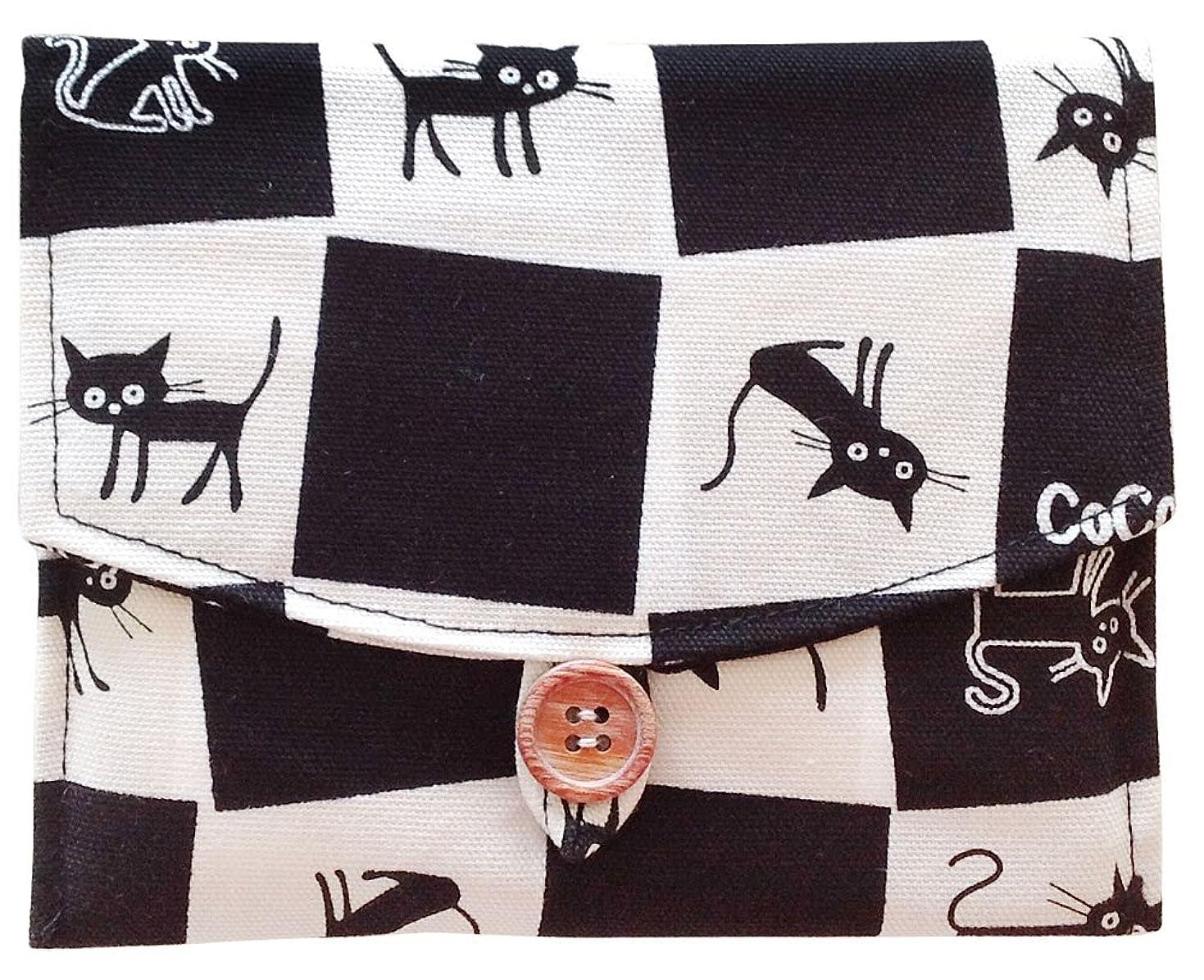 トラブルギネス限りなく猫柄 袋付きミニティッシュポーチ (チェック(183096-05))