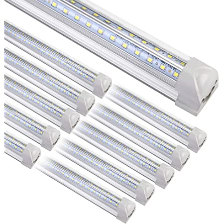 Clear Cover 4 Pack 72w 7200 Lumens 6000K Cool White,High Output Tube Light Warehouse Garage SHOPLED 8FT LED Shop Light Fixture Double Sided V Shape T8 Integrated 8 Foot Led Bulbs for Cooler