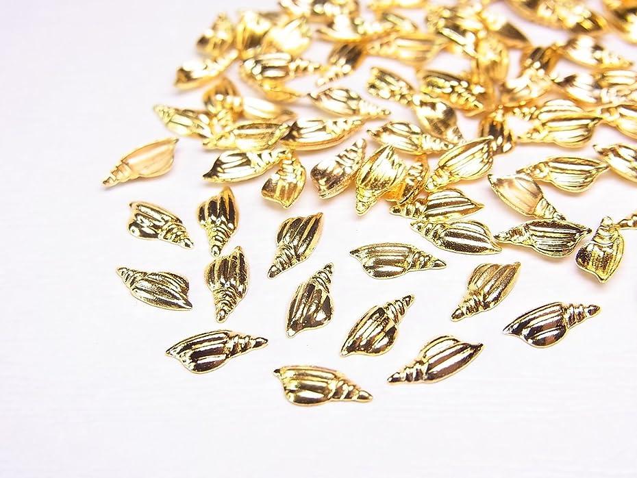 誘惑する気づかないインデックス【jewel】ネイルパーツ ツイストシェル(巻貝)10個 7mm×4mm ゴールド スタッズ ネイル&レジン用 デコ素材