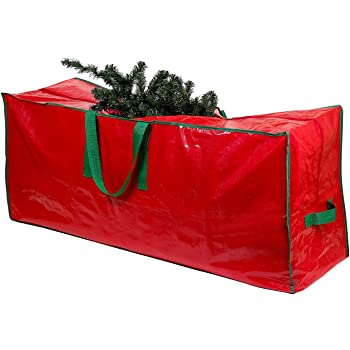 Christmas Tree Storage Bag - Stores a 7.5 Foot Artificial Xmas Holiday Tree. Durable Waterproof Material to Protect Against Dust, Insects, and Moisture. Zippered Bag with Carry Handles. (Red)