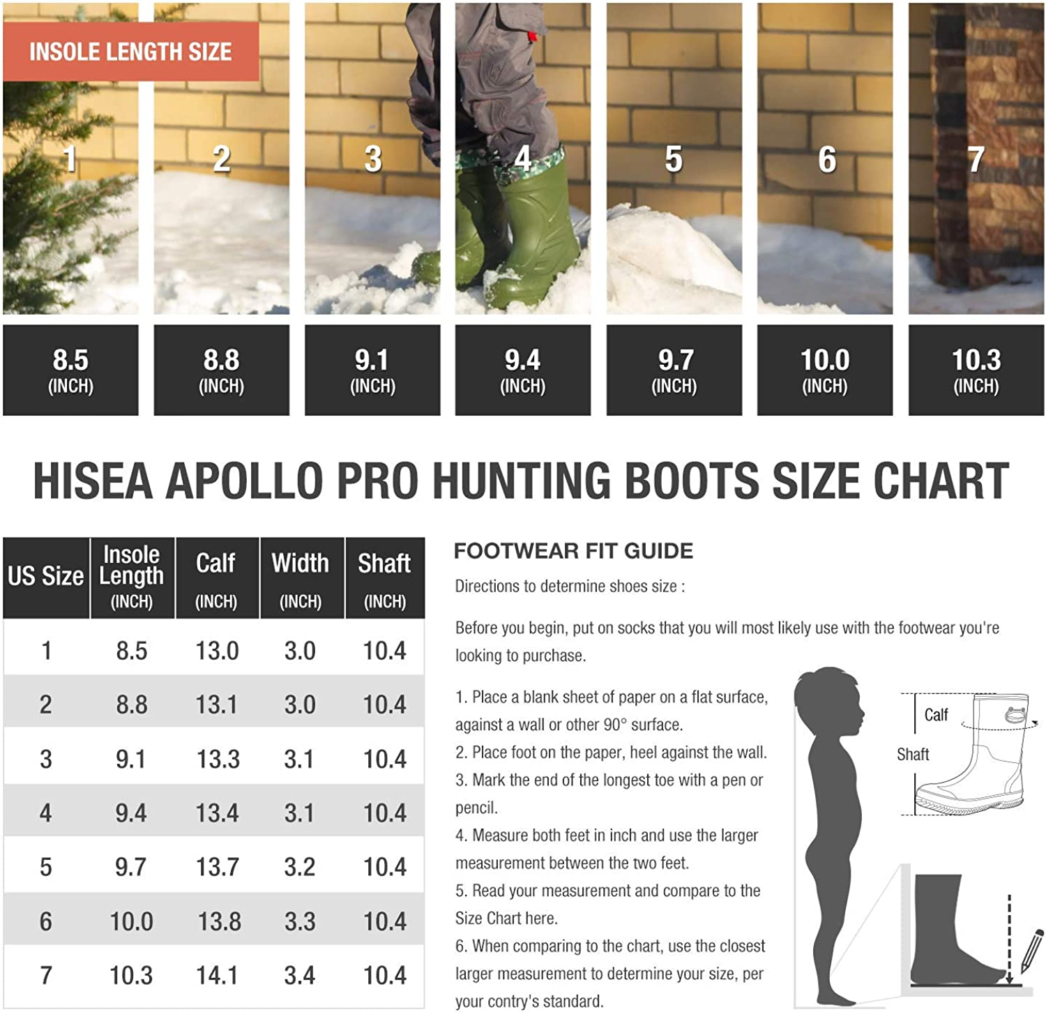HISEA Kids Insulated Winter Rubber Rain Boots Neoprene Snow Boots Waterproof for Boys Girls Toddlers in Arctic Cold Weather