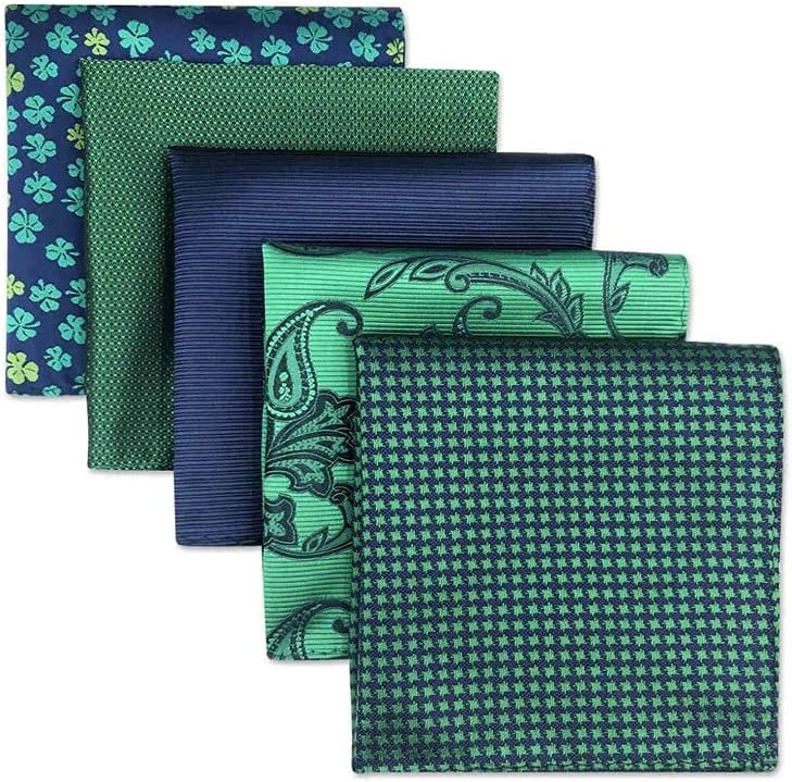 XQWLP 5 Pieces Colorful Assorted Mens Pocket Square Silk Classic Handkerchief Set Gift Colorful (Color : A)