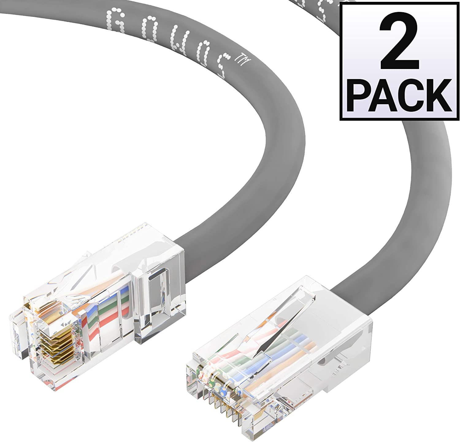 10-Pack - 1.5 Feet 24AWG Network Cable with Gold Plated RJ45 Non-Booted Connector Gray 350MHz GOWOS Cat5e Ethernet Cable 1Gigabit//Sec High Speed LAN Internet//Patch Cable