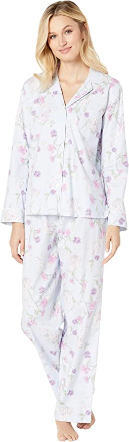 Brushed Twill Long Sleeve Notch Collar Pajama Set