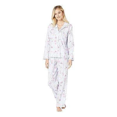 LAUREN Ralph Lauren Brushed Twill Long Sleeve Notch Collar Pajama Set (Blue Print) Women