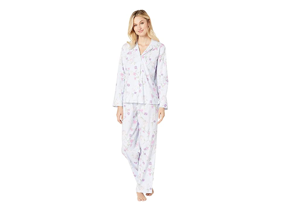 LAUREN Ralph Lauren Brushed Twill Long Sleeve Notch Collar Pajama Set (Blue Print) Women