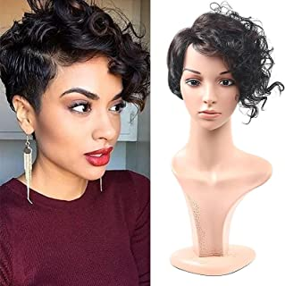 YYCHER Short Wavy Synthetic Hair Wig Pixie Cut Curly Wig with Bangs for Black Women for Cosplay Party Daily Use