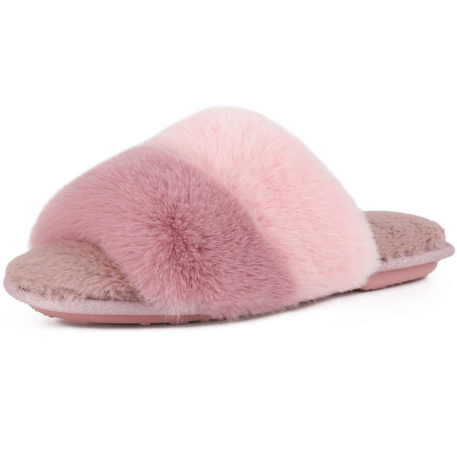 Image of Cozy Two Tone Gradient Fuzzy Slippers for Women