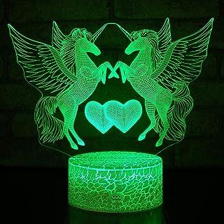 3D Licorne Nuit Lampe 7 Couleurs Changeantes Puissance USB Contact Switch Lampe Décorative Illusion Optique LED Lampe de T...