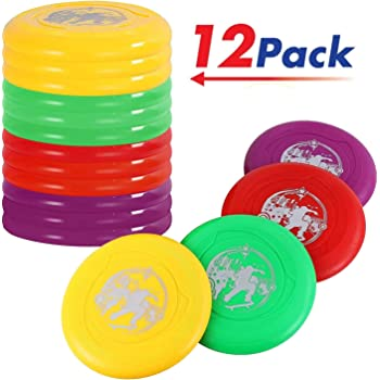 Liberty Imports Plastic Flying Disk Set for Outdoors Beach Backyard Sports Play Discs (Pack of 12)