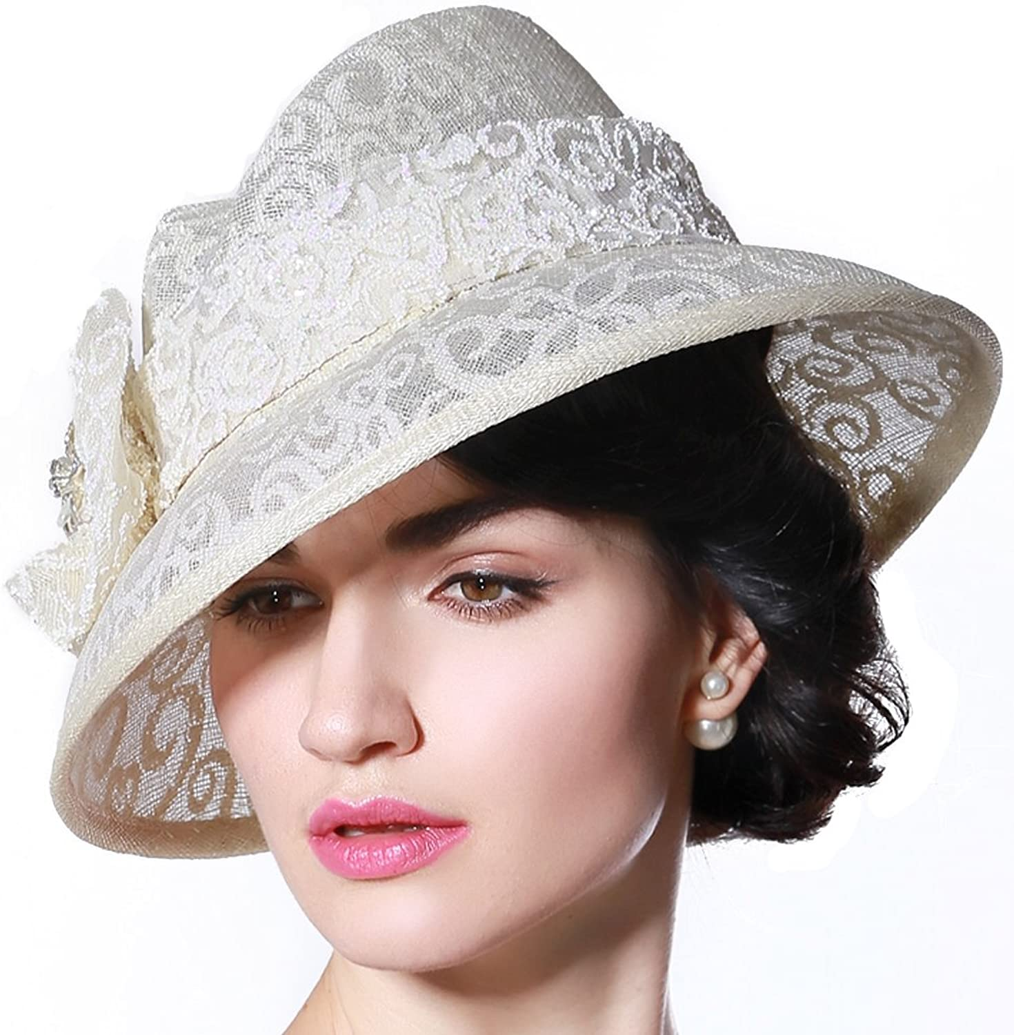 June's Young Summer Hats Sinamay Hats 100% Sinamay Pure color Print color Female Fedoras