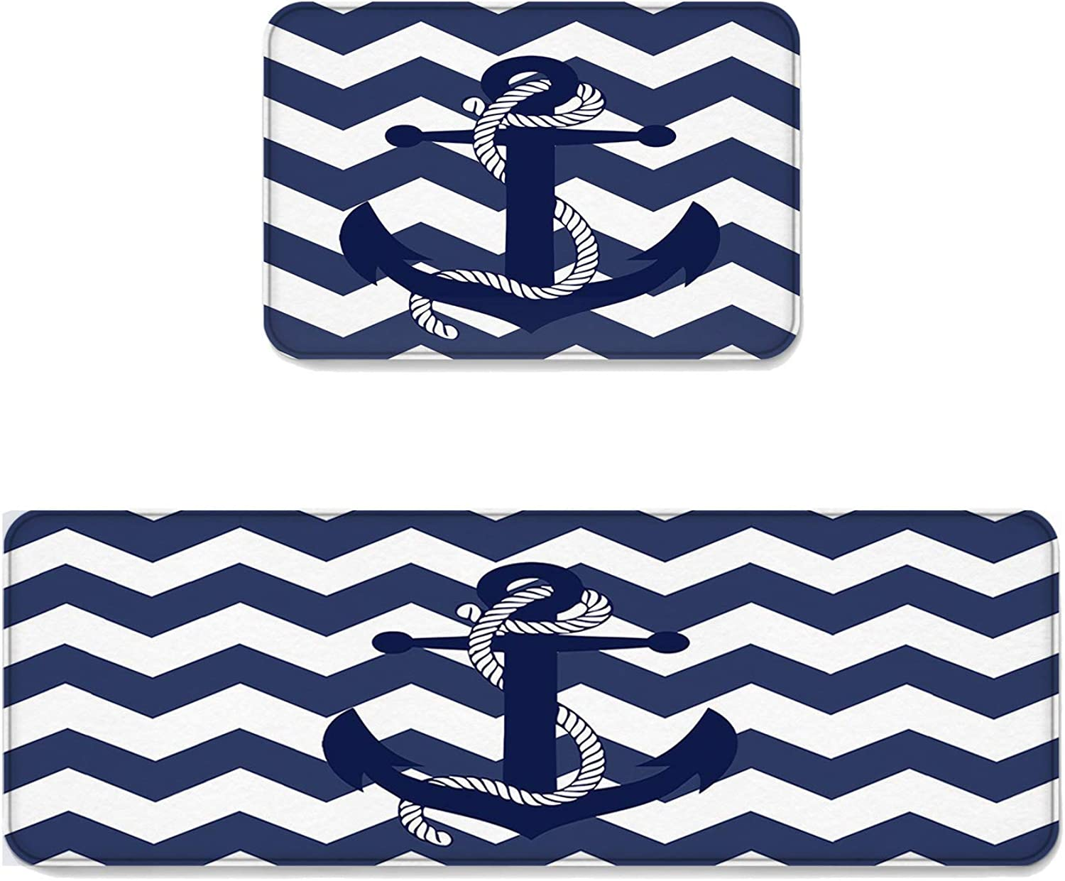 Kitchen Rug Sets 2 Piece Floor Mats Non-Slip Rubber Backing Area Rugs Anchor and Wave Ripple Pattern Doormat Rubber Backing Washable Carpet Inside Door Mat Pad Sets (19.7  x 31.5 +19.7  x 63 )