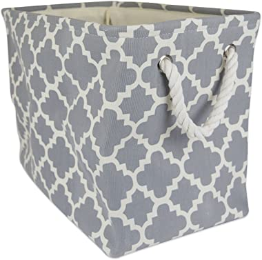 DII Polyester, Collapsible, Convenient Storage Bin For Office, Bedroom, Closet, Toys, Laundry - Large Rectangle, Gray Lattice