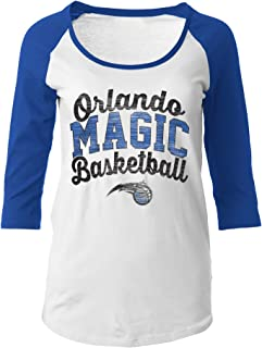 NBA Orlando Magic Women's 100% Cotton Baby Jersey 3/4 Sleeve Scoop Neck Tee, Large, Blue
