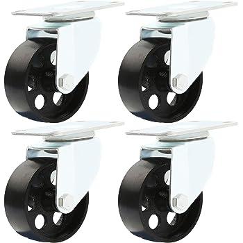 """Online Best Service 4 All Steel Swivel Plate Caster Wheels Heavy Duty High-Gauge Steel 1500lb Total Capacity (3"""" No Brake)"""
