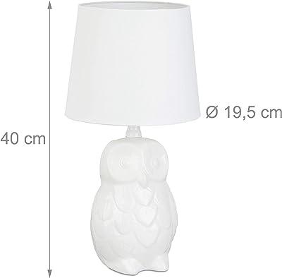 Relaxdays Lampe de table chouette lampe de chevet hibou céramique blanche 40 cm hauteur liseuse abat jour tissu, blanc