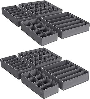 SONGMICS Boîtes de rangement pliable pour sous vêtements, lot de 8, Séparateur de tiroir, Organisateur de tiroir, pour cul...