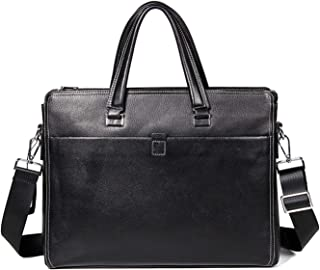 Shoulder Bags Men's Leather Work Bag Square Business Briefcase Black Casual Handbag First Layer Cowhide Laptop Messenger Bag 6L