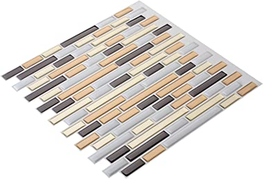 "Art3d 10-Piece Peel-N-Stick Backsplash Tile Sticker Vinyl Wall Covering, 12"" X 12"" Champagne Gold"