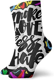 wwoman, Novedad Divertido Crazy Crew Sock Más amor menos odio Gay Pride Lettering Impreso Sport Athletic Calcetines 30cm de largo Calcetines personalizados de regalo