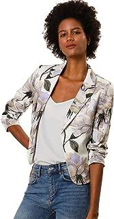 Allegra K Women Contrast Lining Open Front Floral Print Blazer