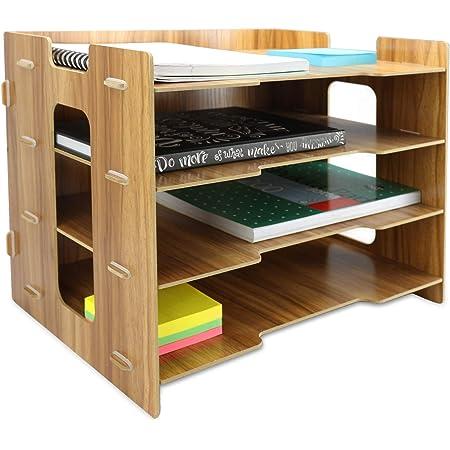 Wooden Desk Organiser | A4 Document Desk Organiser | Wooden Filing Trays | Office Stationery Storage | Letter Rack | 4 Dividers | Pukkr