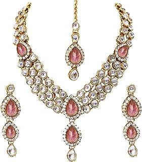 ffa8c5fbb Shining Diva Fashion Gold Plated Pink Kundan Traditional Necklace Jewellery  Set for Women & Girls(