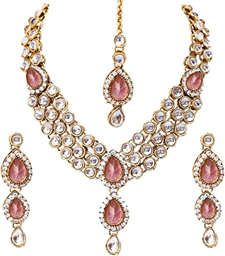 Latest Design 18k Gold Plated Kundan Wedding Party Wear Stylish Necklace Jewellery Set for Women