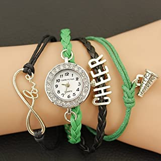 Lanbinxiang@ Unique PU Braided Band Cheers GL68 Quartz Movement Watch with Lobster Clasp Fashion (Color : Green)