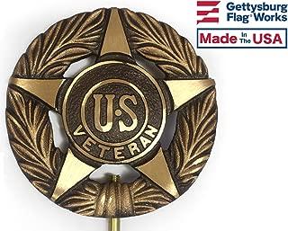 Veteran Grave Marker, Bronze Cemetery Plaque, Memorial Flag Holder, Made in USA