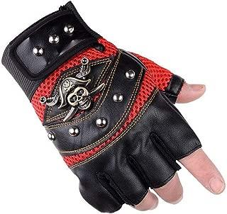UTOWO Fingerless Studded-Gloves Mens Vintage Steampunk/Motorcycle - Captain Half Fingerless Mittens Rocker Costume Accessory