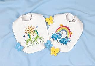 Dimensions Stamped Cross Stitch 'Noah's Ark' Elephant and Giraffe DIY Baby Bibs, 2 pc, 9
