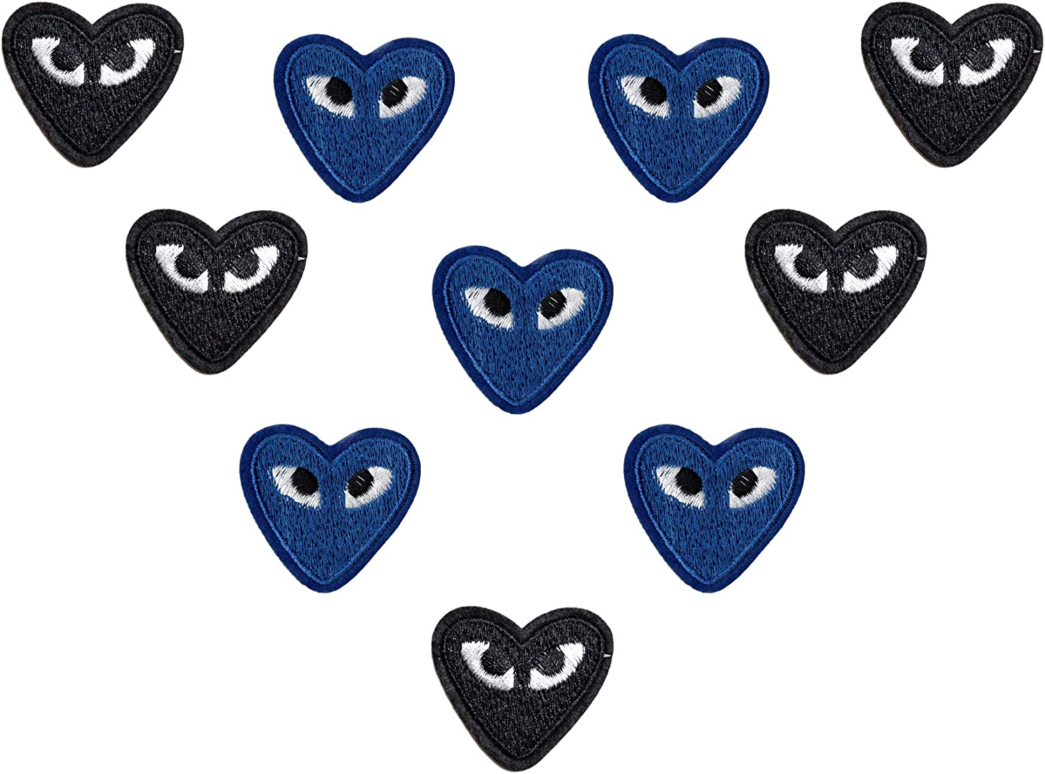 Bule and Black 10 Pcs Cartoon Love Heart Patches Eyes Cute Embroidered Appliques DIY Crafts 2 Colors Iron On Patches