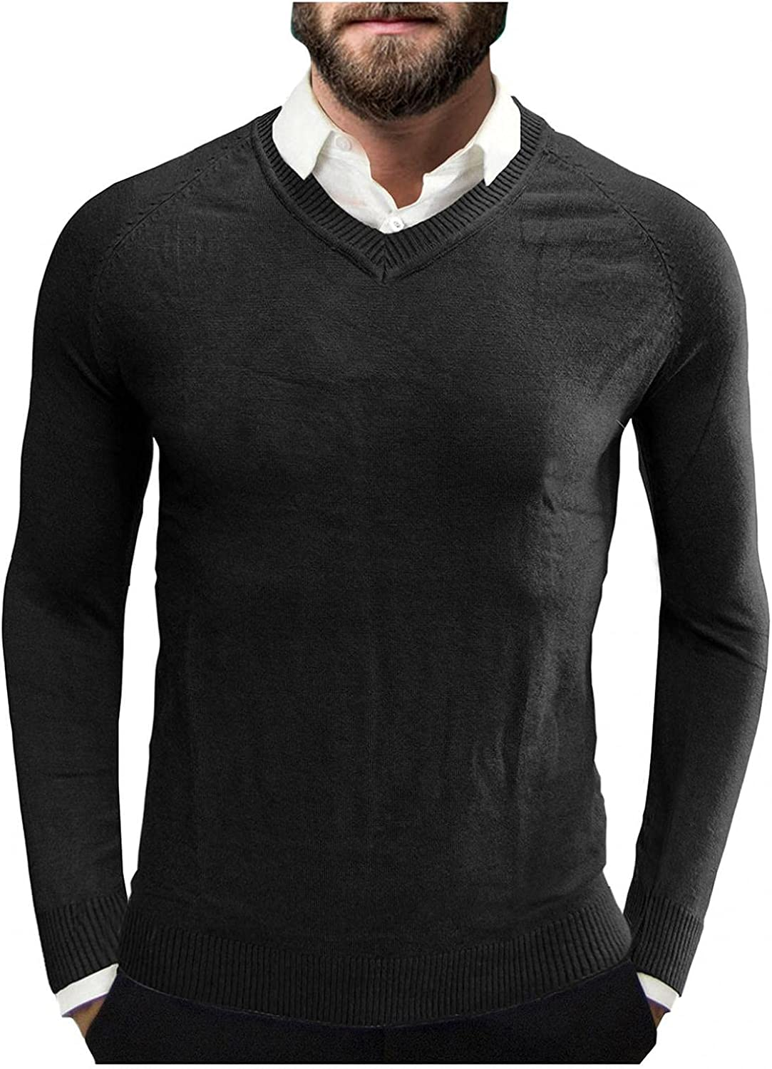 Men's Knit Sweater Long Sleeve V-Neck Sweateshirts Pullover Lightweight Casual Slim Fit Blouse Basic Designed Top