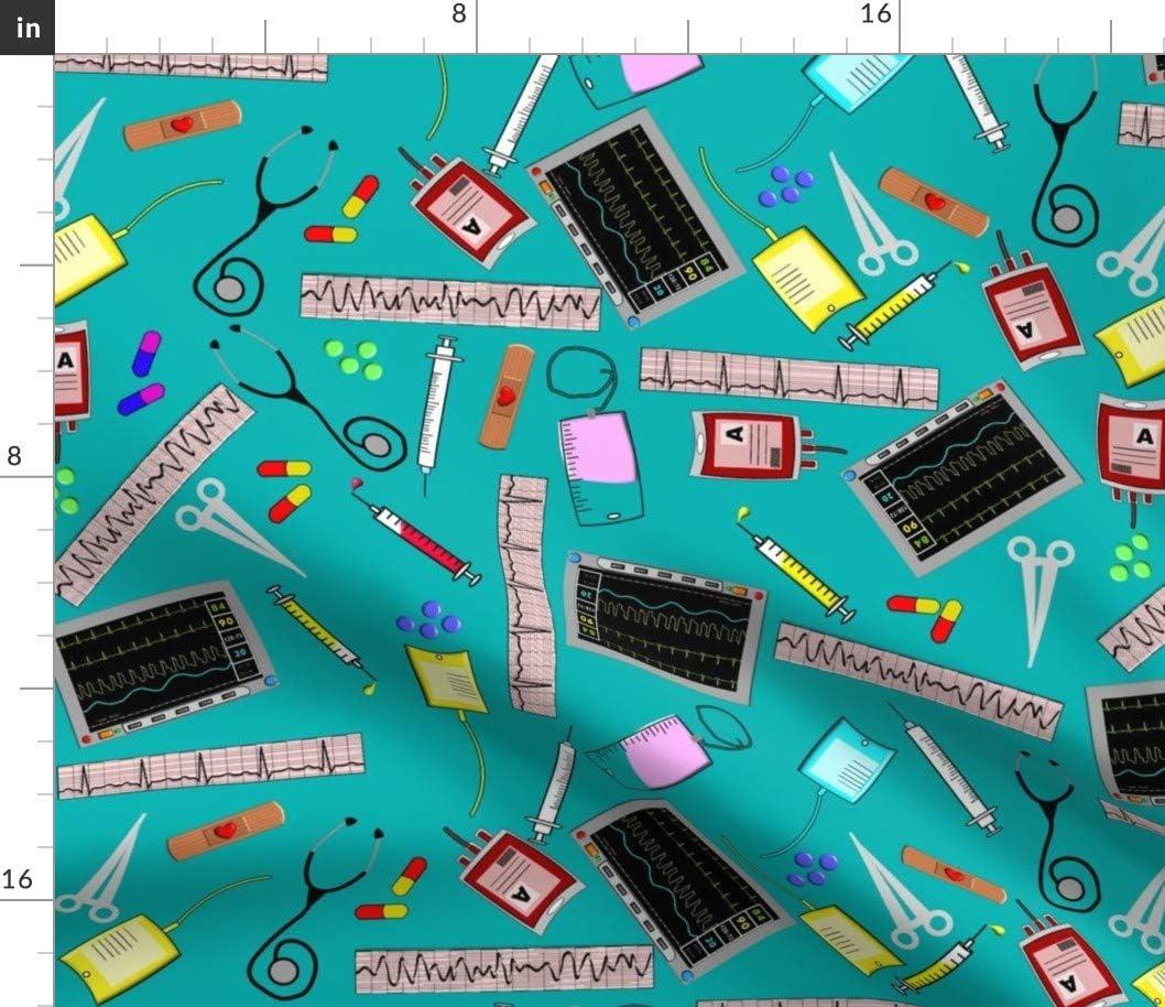 Popular popular Spoonflower Fabric - Miami Mall Nurse Theme Registered Tools Cardiac Hospit