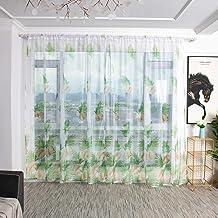 Hunpta @ Voile gordijn palmblad gordijn transparant tule gordijn met trekkoord woonkamer slaapkamer kinderkamer raamgordij...