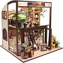 MAGQOO Dollhouse Miniature DIY House Kit Creative Room with Furniture,1:24 Scale Dollhouse Kit for Romantic Valentine's Gift(Coffee House Dust Proof Included)