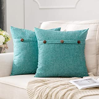 Best MIULEE Set of 2 Decorative Linen Throw Pillow Covers Cushion Case Triple Button Vintage Farmhouse Pillowcase for Couch Sofa Bed 18 x 18 Inch Turquoise Review