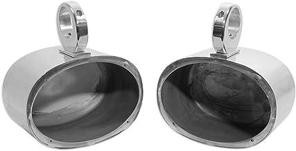 Pair Rockville 6×9 Polished Silver Aluminum Wakeboard Tower Speaker Enclosures