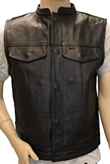 Vance Leather Zipper and Snap Closure Milled Leather Motorcycle Club Vest