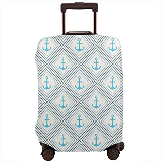 Travel Luggage Cover,Anchor Figures Inside Squares Marine Diagonal Rhombus Sea Ocean Life Suitcase Protector