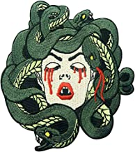 Bleeding Medusa Patches Cool Embroidered Badge Sew on or Iron on Patches for Medusa Costume Shirt Jacket Decorating (2 Pcs)