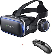 VR Headset Virtual Reality Headset, SHINECON6.0 VR Goggles for TV, Movies & Video Games - 3D VR Glasses Virtual Reality Glasses Compatible iOS, Android & Other Phones Within 4.0-6.2in with Controller
