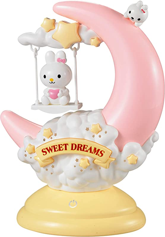 Kids LED Night Light Cute Bunny Rabbit Animal On Movable Half Moon Swing With Sweet Dreams Touch Sensor Plus Yellow Dim Option Portable Lamp Perfect For Girl Boy Infant Toddler Baby Nightlight Gifts