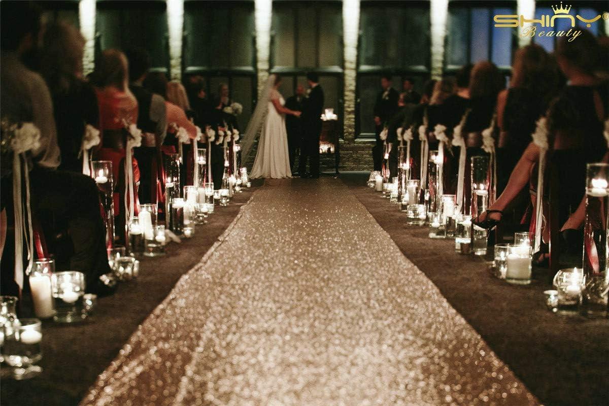 ShinyBeauty Aisle Runner Glitter Runner For Wedding Indoor Outdoor Carpet Sequin Aisle Runner Prom 4FTx45FT Champagne