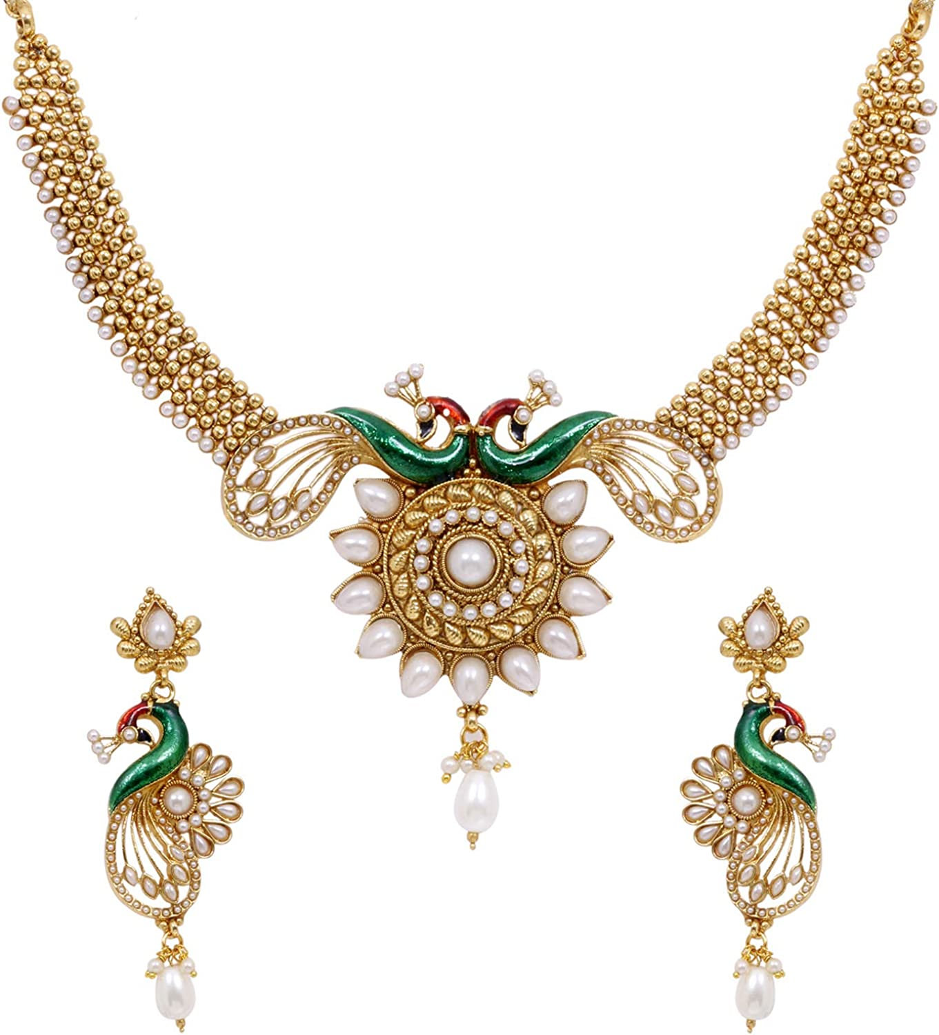 SANARA Indian Bollywood Antique Gold Plated Peacock White Pearl Made Peacock Pearl & Choker Necklace & Earring Set Wedding Partywear Jewelry
