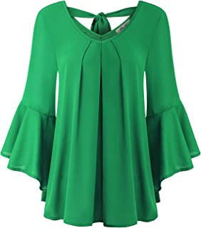Women's Cute V Neck 3/4 Bell Sleeve Pleated Front Chiffon Blouse