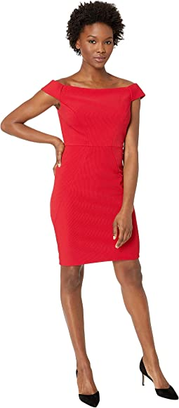 8dc155eb0802 Cardinal. 26. Adrianna Papell. Daphne Ottoman Off the Shoulder Sheath Dress