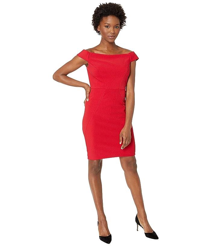 Adrianna Papell Daphne Ottoman Off the Shoulder Sheath Dress (Cardinal) Women