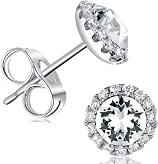 18K White Gold Plated Round Cut Crystal Halo Stud Earrings 6mm for Women Men Jewelry